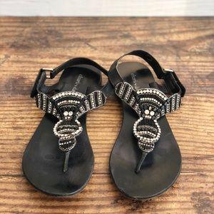 Charles David Crystal Embellished Sandals Black